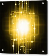 Abstract Circuit Board Lighting Effect  Acrylic Print by Setsiri Silapasuwanchai
