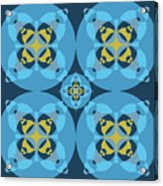Abstract Mandala Cyan, Dark Blue And Yellow Pattern For Home Decoration Acrylic Print
