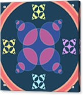 Abstract Mandala Pink, Dark Blue And Cyan Pattern For Home Decoration Acrylic Print