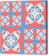 Abstract Mandala White, Pink And Blue Pattern For Home Decoration Acrylic Print