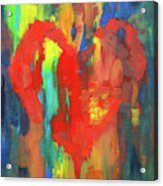 Abstract Red Heart Acrylic Painting Acrylic Print