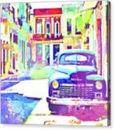 Abstract Watercolor - Havana Cuba Classic Car IIi Acrylic Print