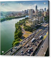 Aerial View Of The Austin Skyline As Rush Hour Traffic Picks Up On I-35 Acrylic Print