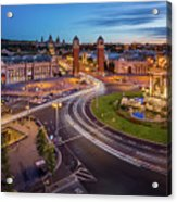 Aerial View On Placa Espanya And Montjuic Hill With National Art Acrylic Print