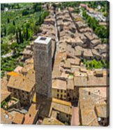 Aerial Wide-angle View Of The Historic Town Of San Gimignano Wit Acrylic Print