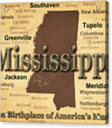Aged Mississippi State Pride Map Silhouette  Acrylic Print
