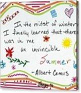 Albert Camus Doodle Quote Acrylic Print