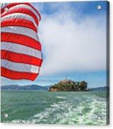 Alcatraz Island With American Flag Acrylic Print