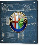 Alfa Romeo 3 D Badge Over 1938 Alfa Romeo 8 C 2900 B Vintage Blueprint Acrylic Print