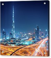 Amazing Night Dubai Downtown Skyline, Dubai, United Arab Emirates Acrylic Print