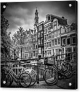 Amsterdam Flower Canal Black And White Acrylic Print