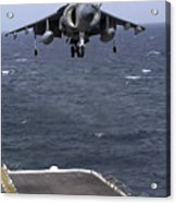 An Av-8b Harrier II Prepares To Land Acrylic Print