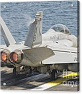An Fa-18f Super Hornet Taking Off Acrylic Print