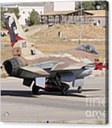 An Israeli Air Force F-16b Netz Taxiing Acrylic Print