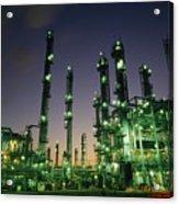 An Oil Refinery At Dusk Acrylic Print by Lynn Johnson