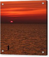 Angler In Summer Sunset Acrylic Print