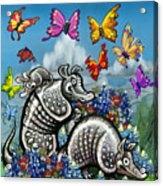 Armadillos Bluebonnets And Butterflies Acrylic Print