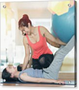 Asian Woman Fitness Coach Teach Her Student For Rubber Ball Exer Acrylic Print