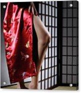 Asian Woman In Red Kimono Acrylic Print
