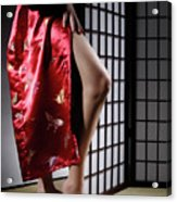 Asian Woman In Red Kimono Acrylic Print by Oleksiy Maksymenko