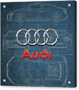 Audi 3 D Badge Over 2016 Audi R 8 Blueprint Acrylic Print