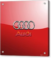 Audi - 3d Badge On Red Acrylic Print