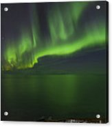 Aurora Borealis Over Iceland Shoreline Acrylic Print