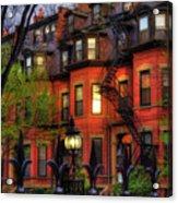 Back Bay Boston Brownstones In Spring Acrylic Print