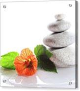 Balanced Stones And Red Flower Acrylic Print by Gunay Mutlu