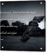 Bald Eagle In Flight With Bible Verse Acrylic Print