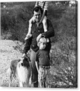 Barry Sadler With Sons And Family Collie Tucson Arizona 1971 Acrylic Print
