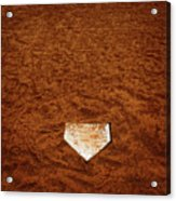 Baseball Homeplate In Brown Dirt For Sports American Past Time Acrylic Print