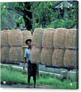 Basket Carrier In Bali Acrylic Print