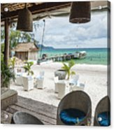 Beach Bar In Sok San Area Of Koh Rong Island Cambodia Acrylic Print