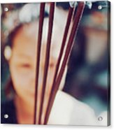 Beautiful Asian Woman Holding Incense Sticks During Hindu Ceremony In Bali, Indonesia Acrylic Print