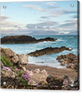 Beautiful Landscape Image Of Rocky Beach With Snowdonia Mountain Acrylic Print