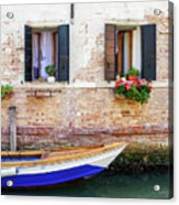 Beautiful View Of Water Street And Old Buildings In Venice, Ital Acrylic Print