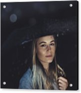 Beautiful Woman At Rainy Night Acrylic Print