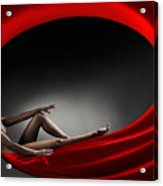 Beautiful Woman In A Whirl Of Power Acrylic Print