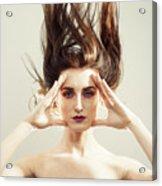 Beautiful Woman With Windswept Hair Acrylic Print