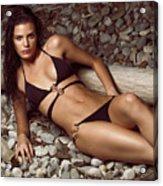 Beautiful Young Woman In Black Bikini On A Pebble Beach Acrylic Print by Oleksiy Maksymenko