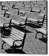 Benches Acrylic Print by Perry Webster