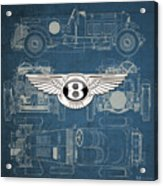Bentley - 3 D Badge Over 1930 Bentley 4.5 Liter Blower Vintage Blueprint Acrylic Print