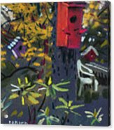 Birdhouses And Chairs Acrylic Print