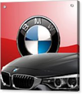 Black B M W - Front Grill Ornament And 3 D Badge On Red Acrylic Print by Serge Averbukh