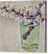 Blossoming Branch In A Glass Acrylic Print