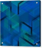 Blue Geometric Composition 1 Acrylic Print