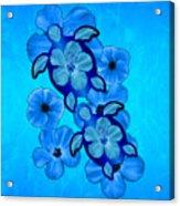 Blue Hibiscus And Honu Turtles Acrylic Print