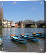 Blue Rowing Boats On The Thames At Hampton Court London Acrylic Print