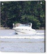 Boat On The Hudson Acrylic Print